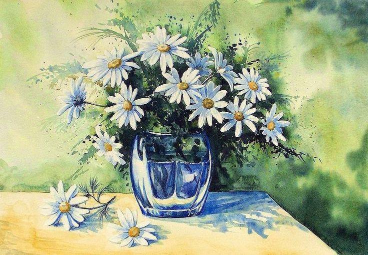 Edyta Nadolska Watercolor Art - 'A bunch of daisies'