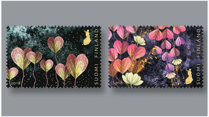 The designer of the latest Valentine's Day stamps from Finland was inspired by nature, art and fairy tales in creating the illustrations.  Called Light of Friendship,