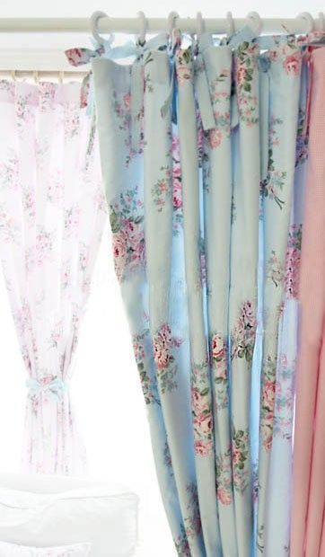 Shabby Chic Blue Rose Curtain - like how it slides...not just ties. #shabbychicbathroomscurtains