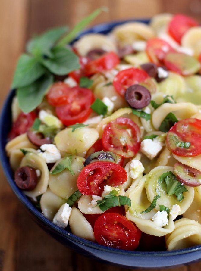 Pasta Salad with Feta, Tomato, Kalamata Olives and Sweet Basil Vinaigrette