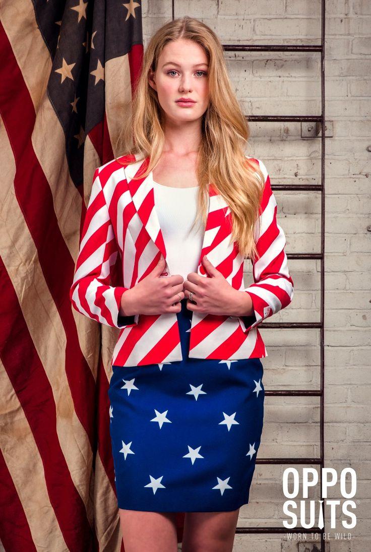 Opposuits American flag Woman print suit pak amerikaanse vlag blauw rood wit