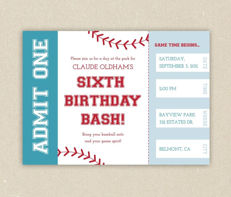 777 best birthday party images on pinterest | baseball birthday, Birthday invitations