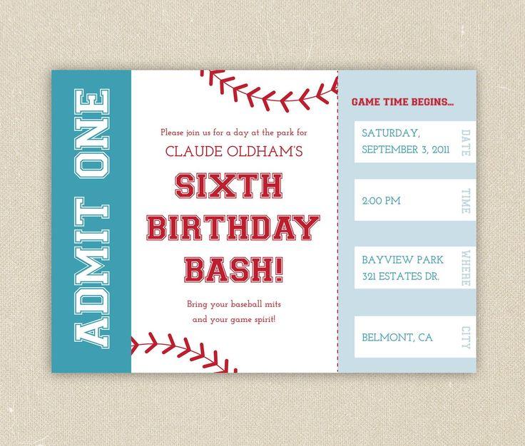 Free Printable Baseball Birthday Party Invitations Birthday