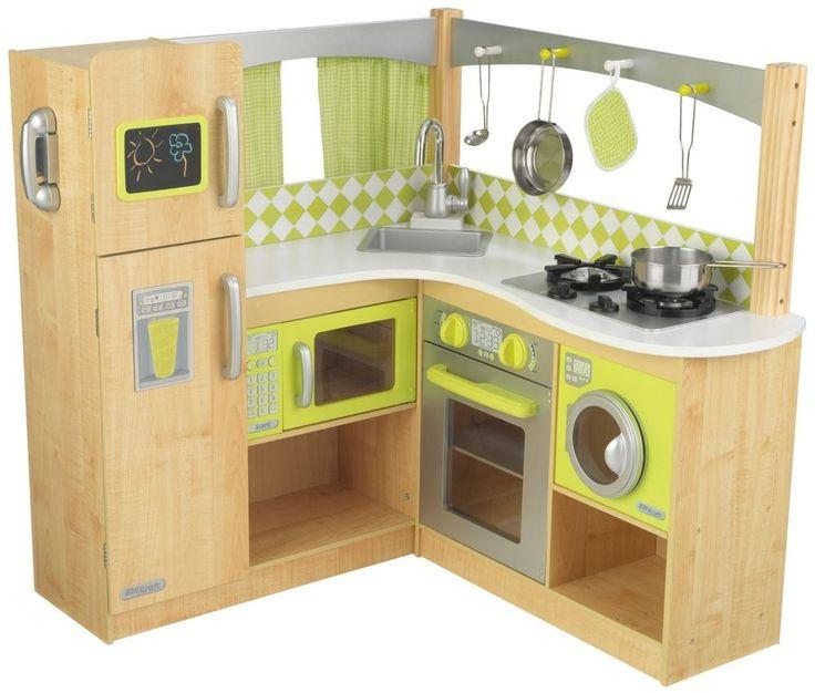 New Limited Edition Kidkraft Wooden Gourmet Lime Green Corner Play Kitchen  #KidKraft