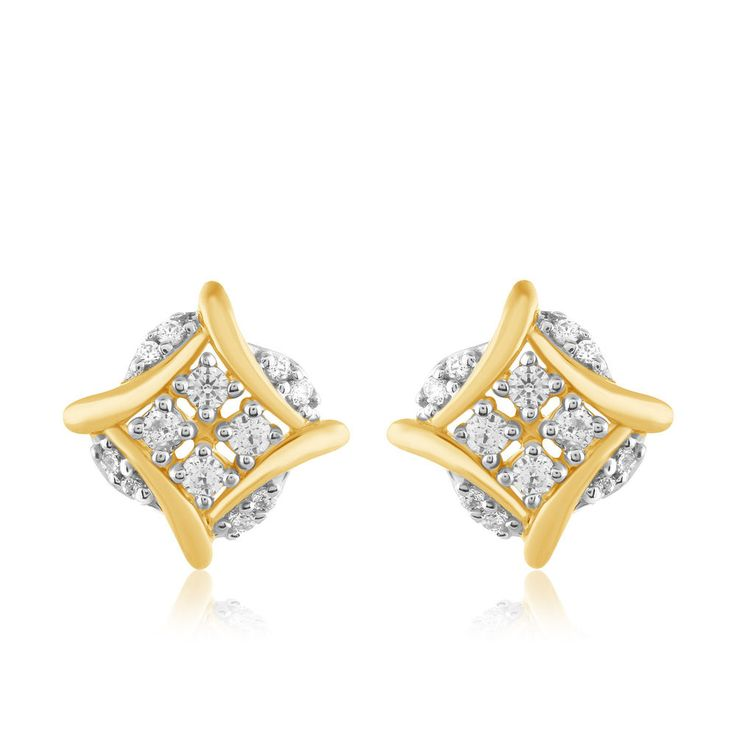 Diamond Earrings Zig Zag Stud Cluster Square <b>Solid 10k Yellow</b> ...