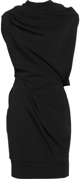 Donna Karan New York Draped Stretchwool Dress in Black - Lyst
