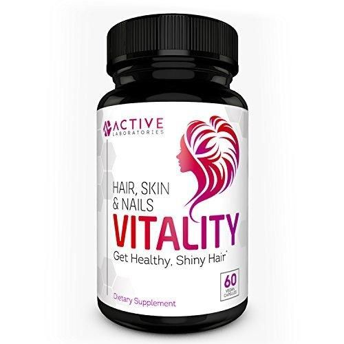 Vitality All Natural Hair Growth Formula Supplement - For All Hair Types - Made With Biotin & More! - 60 ct. Veggie Capsules