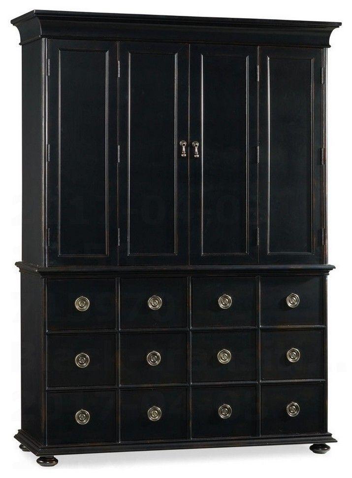 Black transitional armoire wardrobe closet
