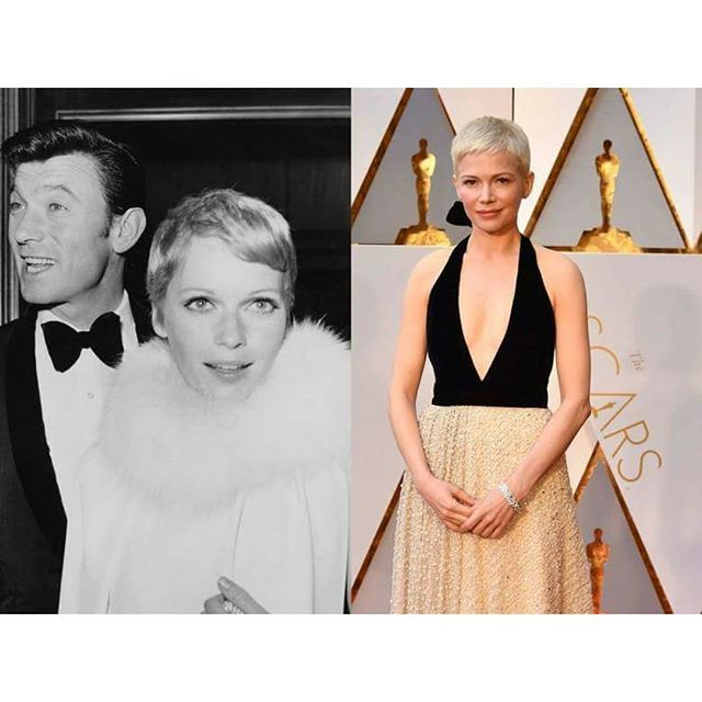 "Reminiscent of Mia Farrow ""the #pixiecut by Christopher Brooker not #VidalSassoon . A fact mainstream media like #voguemagazine fails to recognize. #MichelleWilliams showed off quite the dramatic haircut at the 2017 #Oscars red carpet. The actress, nominated for Best Supporting Actress for her role in #ManchesterBytheSea, opted for a super-short, #bleachblonde pixie cut #hairstyle Though ""stylish"" doesn't immediately come to mind for #RomanPolanski's eerie tale, #MiaFarrow remains poised and…"