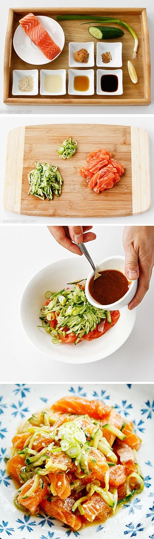 Salát z lososa a okurky v japonském stylu sashimi - DIETA.CZ