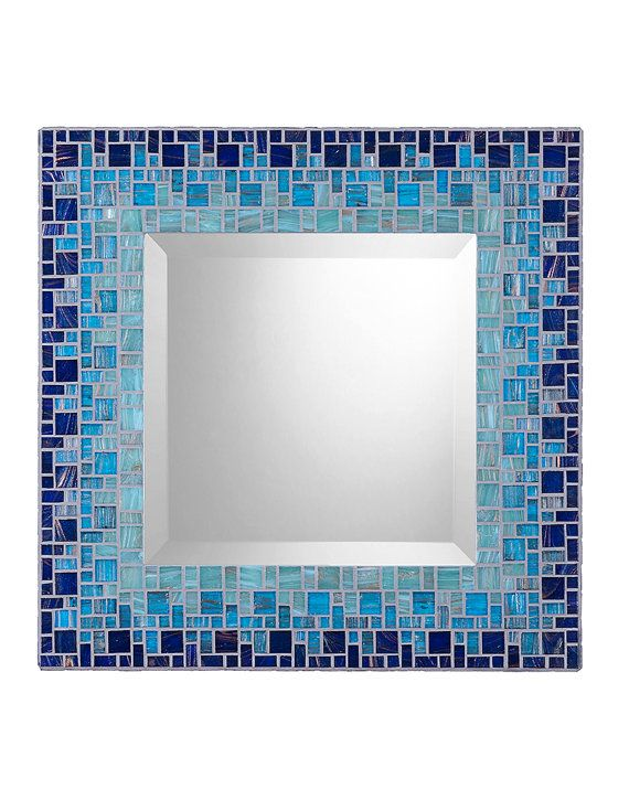 Navy Blue Aqua Light Teal Mosaic Wall Mirror by opusmosaics