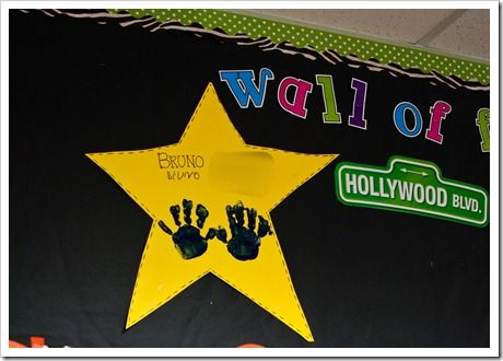 celebrity of the week: have students paint their hands on a star and put it on the wall of fame.
