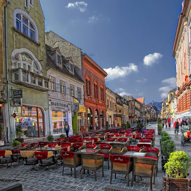 Pedestrian street in Brasov City, Romania