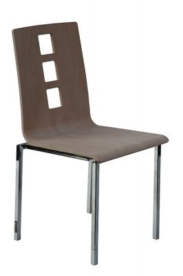 NEK-V | WOODEN CHAIR  Creation 2014.     Chair with plywood seat stained and square steel tube frame chromed 15x15x2mm available also with smoothed seat. DESIGN BY: Studio progettazione VELA.