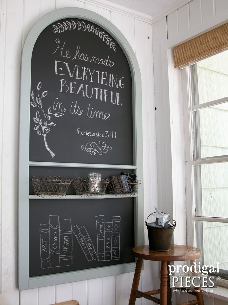 Wall-Mounted Repurposed Screen Door Chalkboard by Prodigal Pieces | www.prodigalpieces.com