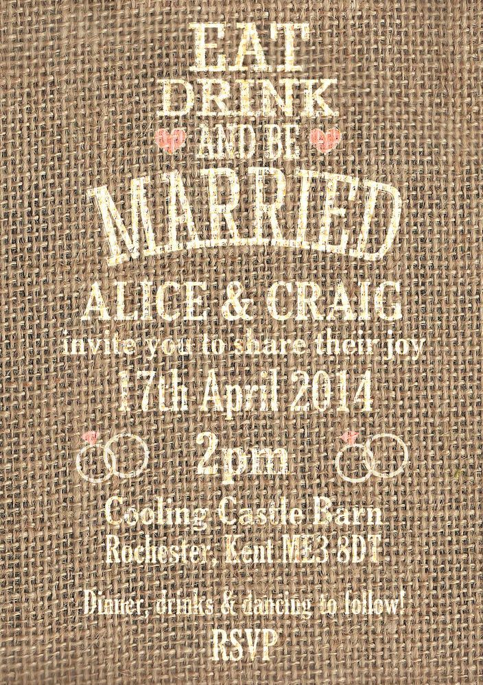 50 Personalised Hessian Rustic Vintage/Country Shabby Chic Wedding Invitations!