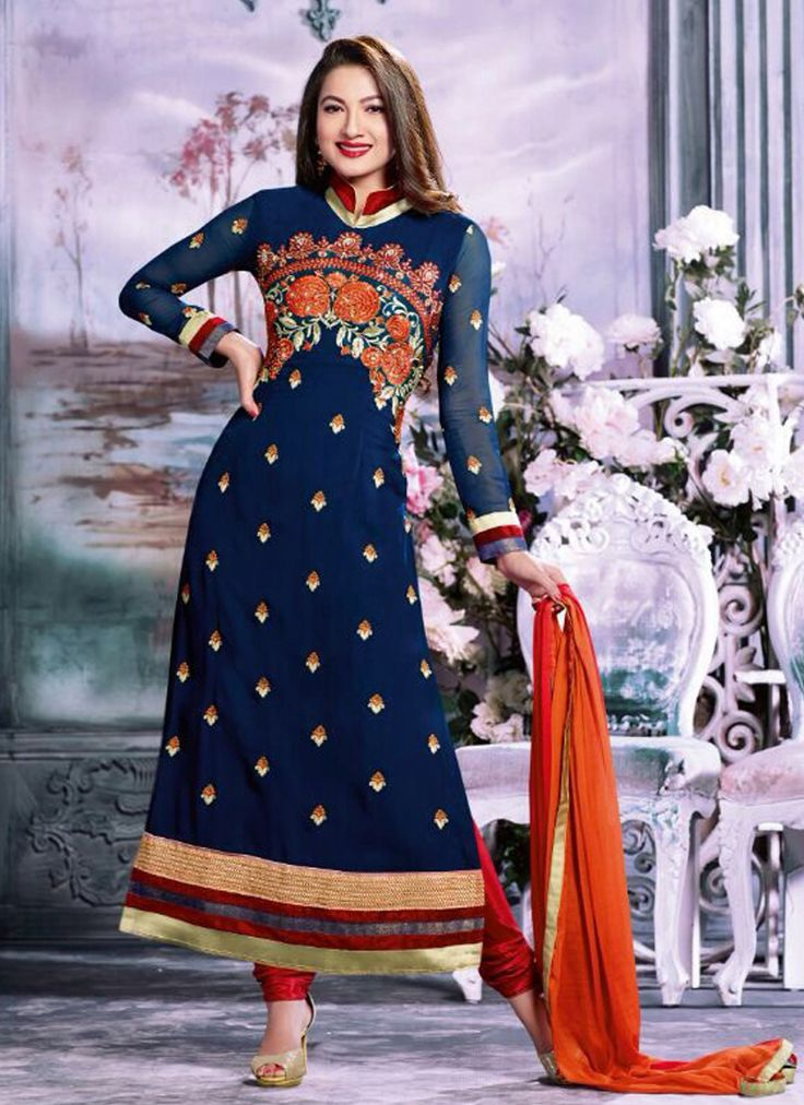 Blue Wedding Special Anarkali Suits Collection  Grab full set catalog @ http://www.suratwholesaleshop.com/casual-wear-beige-georgette-embroidered-work-straight-suit-4020?view=catalog