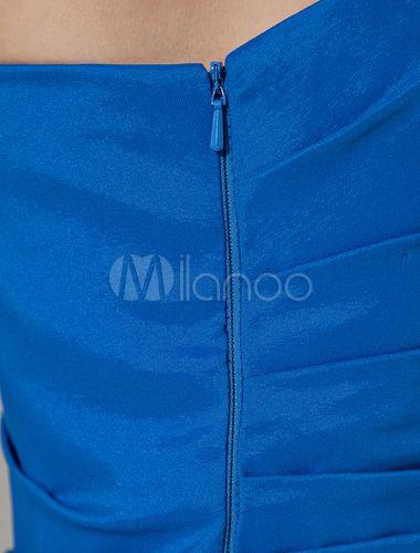 Vestido para cóctel de color azul real de satén elástico con un solo hombro ajustado hasta la rodilla