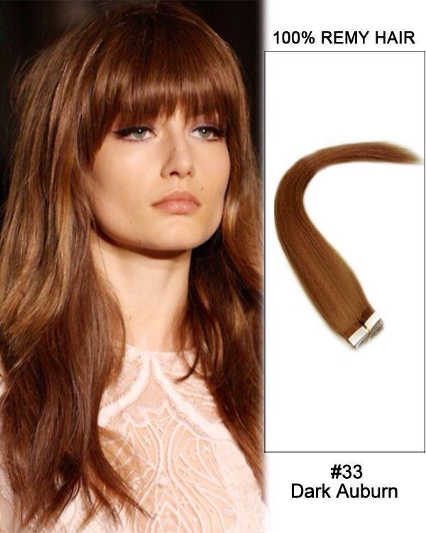 14 33 Dark Auburn Straight 100 Remy Hair Tape In Hair Extensions