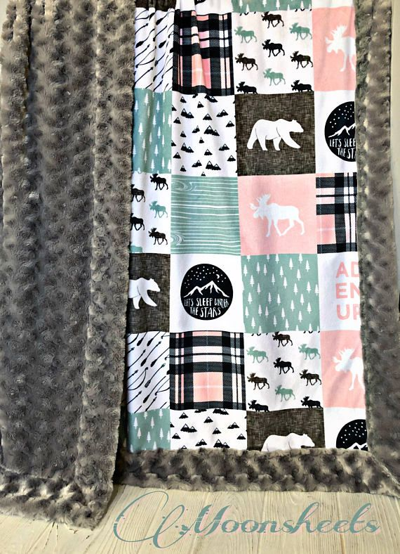 ***Options*** Please read carefully!! Pink and mint happy camper faux quilt with silver swirl backing. Minky blankets are minky on both sides. Check shop info for turnaround time. Minky Baby blanket - Measures approximately 28x38 inches. Great for strollers, car seats, swaddling etc