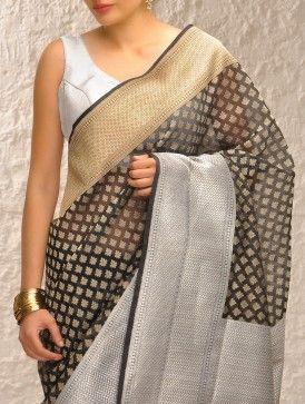 Black-Gold Handloom Benarasi Kora Saree by Ekaya