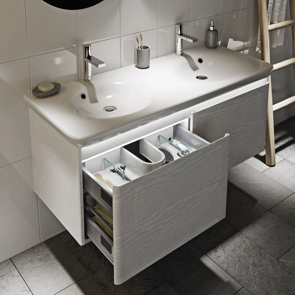 Mode Heath White Led Wall Hung Vanity Unit And Basin 1200mm Wall Hung Vanity Vanity Units Vanity