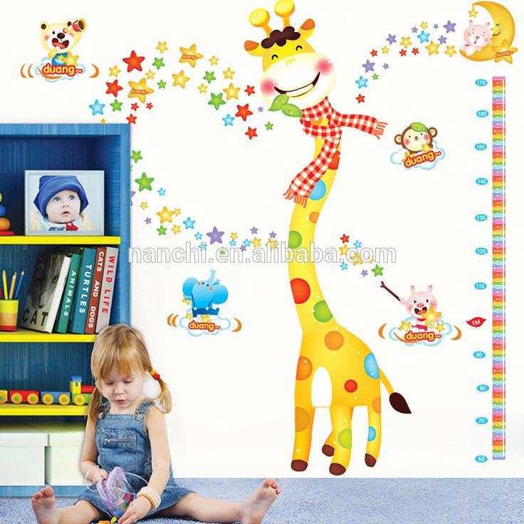 Unique Dynamic giraffe happy among stars wall stickers living room sofa Kindergarten wallpaper D cartoon waterproof wall