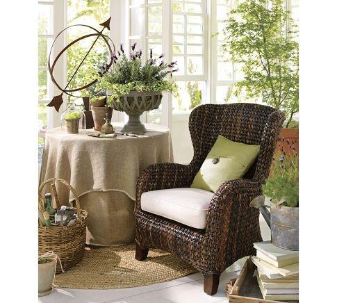 Sunroom Seagrass Wingback Armchair Pottery Barn