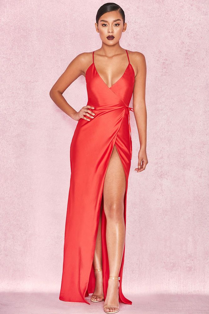 b61bd72463c7 HOUSE OF CB 'Audreyana' Red Satin Wrap Maxi Dress S 8 / 10 SS 14198  #fashion #clothing #shoes #accessories #womensclothing #dresses (ebay link)