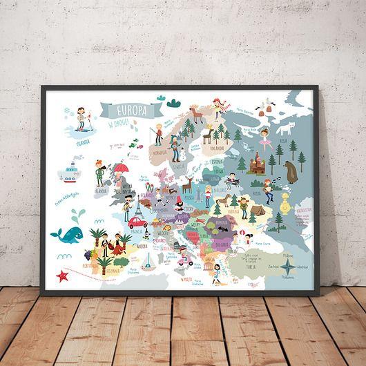 dziecko - plakaty, obrazki- Mapa Europy III. Plakat bardzo duży 100x70 cm