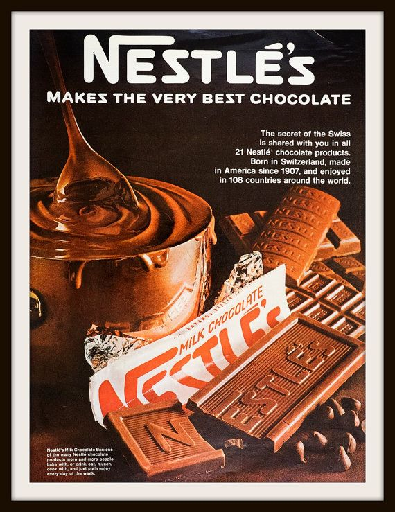 So much chocolate in this ad, you can almost taste it. 1968 Nestle Chocolate Advertisement. Vintage Nestle ad. Vintage Chocolate ad. Vintage food ad.