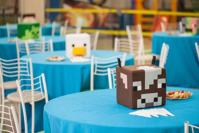Guest Tables + Character Block Centerpieces from a Minecraft Birthday Party via Kara's Party Ideas KarasPartyIdeas.com (24)