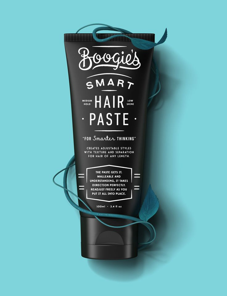 Contrast with a colourful background with a dark package. Hair Paste Blue . Packaging Design