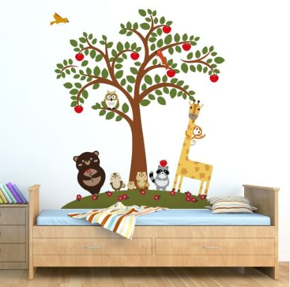 Animal Friends and Apple Tree ~ This beautiful Animal Friends and Apple Tree Wall Sticker is sure to make your child happy.   This product can be attached directly to the walls, window, screens and etc.  • It is self-adhesive, water & steam resistant  • Easy to remove without leaving stain • Reusable (you can use it few times) and flexible • High quality sticker £24.99