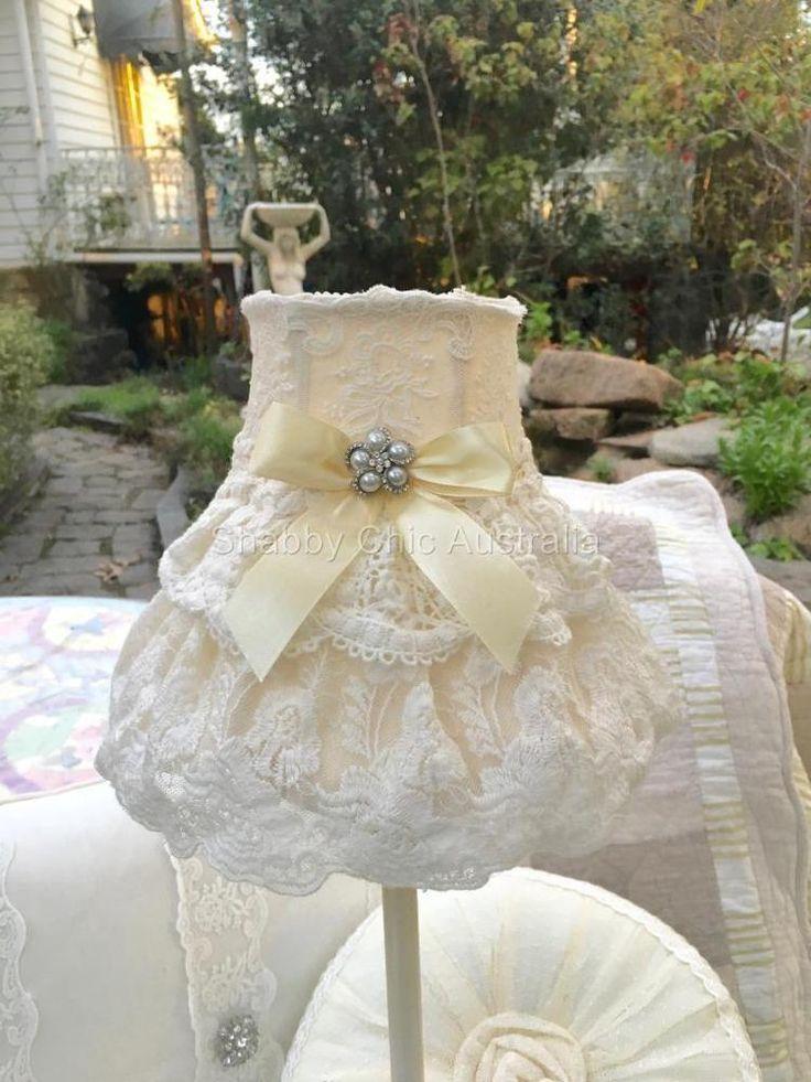 Hamptons Table Bed Lamp & Victorian Ruffle Bridal Lace Brooch Shade More Avail