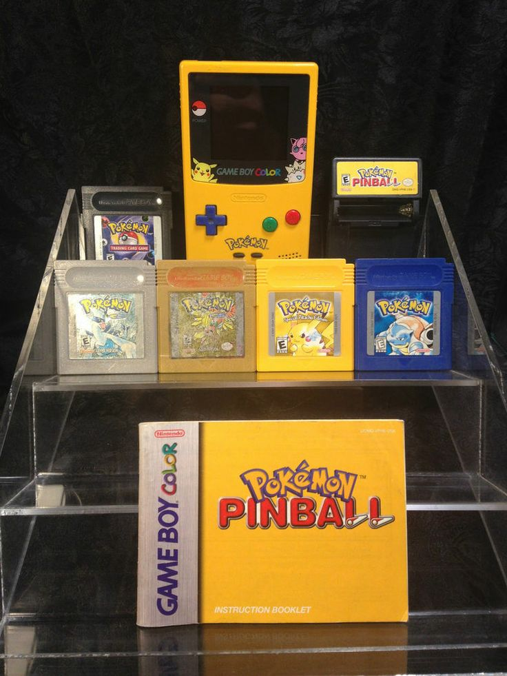 Pikachu Game Boy Color and 6 Pokemon Games, Yellow, Blue, Silver, Gold, Pinball #Nintendo