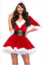 Новейшие Red Dress 2017 Рождественские Костюмы Sexy Santa Baby Кристалл Бархат Holiday Dress С Поясом Один Размер костюма санта-клауса(China (Mainland))