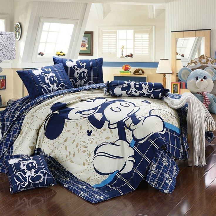 Mickey and Minnie Mouse King Queen Adults Cartoon Bedding Set 4 Pcs Cotton  Bed Sheet White Blue Linens Doona Duvet Cover and 2 Pillowcase. 25  unique Mickey mouse bed set ideas on Pinterest   Mickey mouse