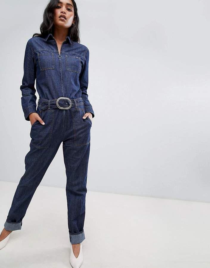 Pepe Jeans Denim Jumpsuit with Belt   3005   Denim jumpsuit, Pepe ... 8d1b2cd29f