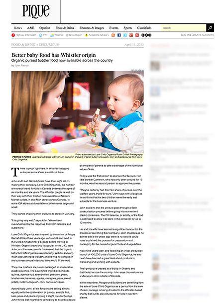 Love Child Organics featured in Whistler Pique!