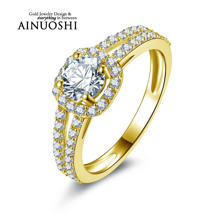 AINUOSHI 10k Solid Yellow Gold Wedding Rings New Round Cut Halo CZ Anelli Donna Bijoux Anniversary Gift Women Wedding Rings