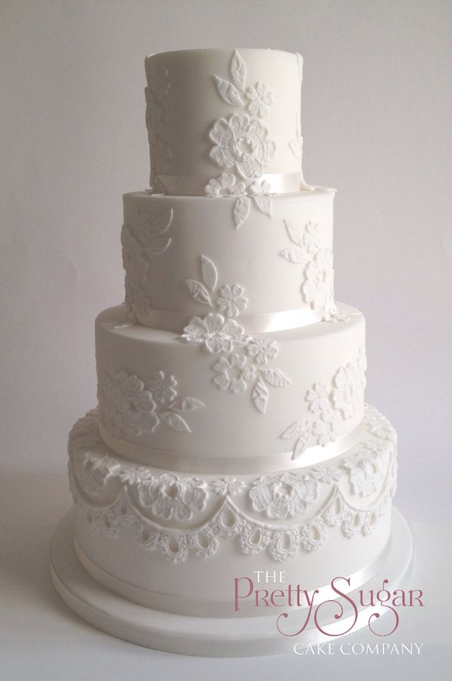 White floral lace wedding dress inspired wedding cake