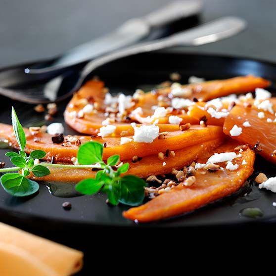 Græskar-carpaccio -http://www.dansukker.dk/dk/opskrifter/graeskar-carpaccio.aspx #dansukker #opskrift #carpaccio #græskar #mad #halloween #spis #eat #meal