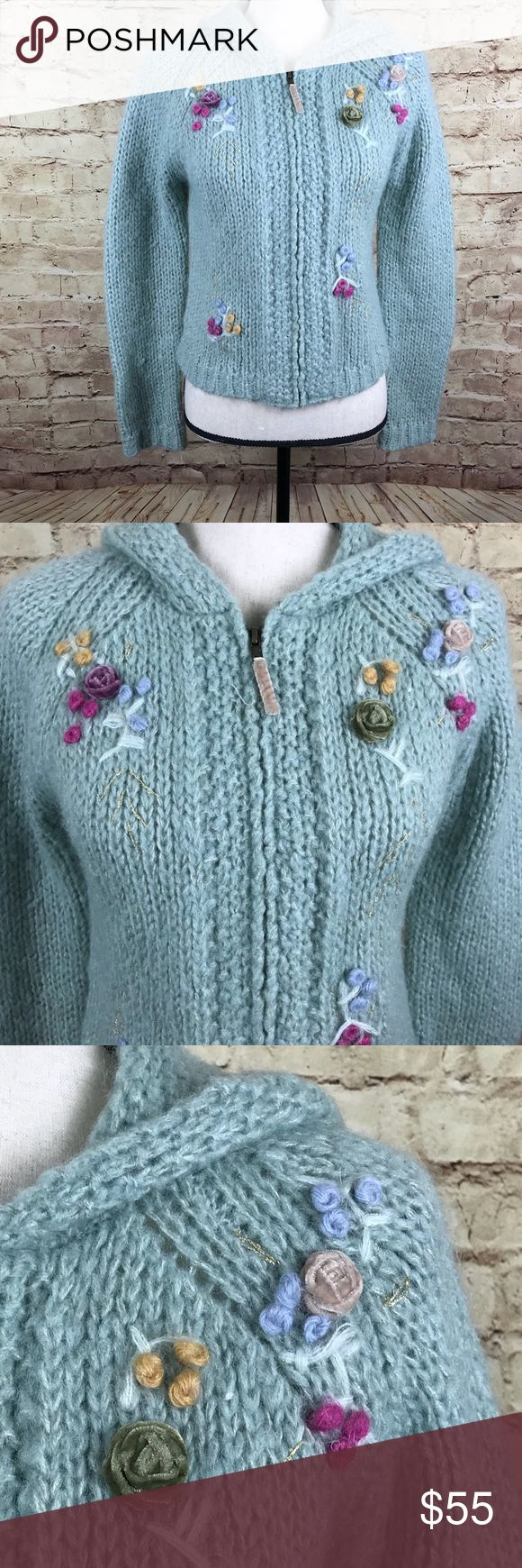 Anthropologie Sleeping on Snow Green Sweater Sz M Anthropologie Sleeping on Snow Women Hoodie Sweater  Green, Gold, Blue, Purple (Color may vary from photo. Hoodie is seafoam green) Embroidered Floral  Size M Approximate measurements: bust 18 inches; sleeve 28 inches; length 19.5 inches Anthropologie Sweaters