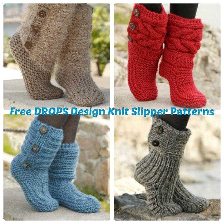 DROPS Design Free Knit Slipper Patterns | Wee Folk Art