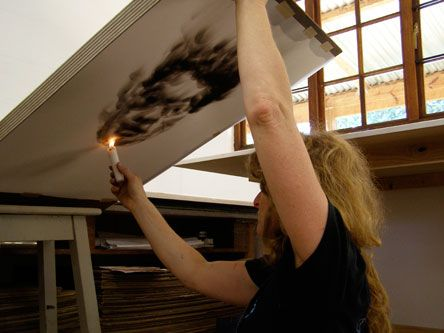 South African artist, Diane Victor, at work on one of her smoke drawings #art www.art.co.za/dianevictor.html