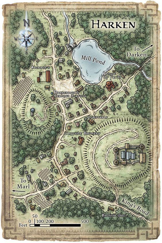 village maps map town fantasy harken rpg dungeons dragons area castle google dnd layout medieval forest nentir vale generator plan