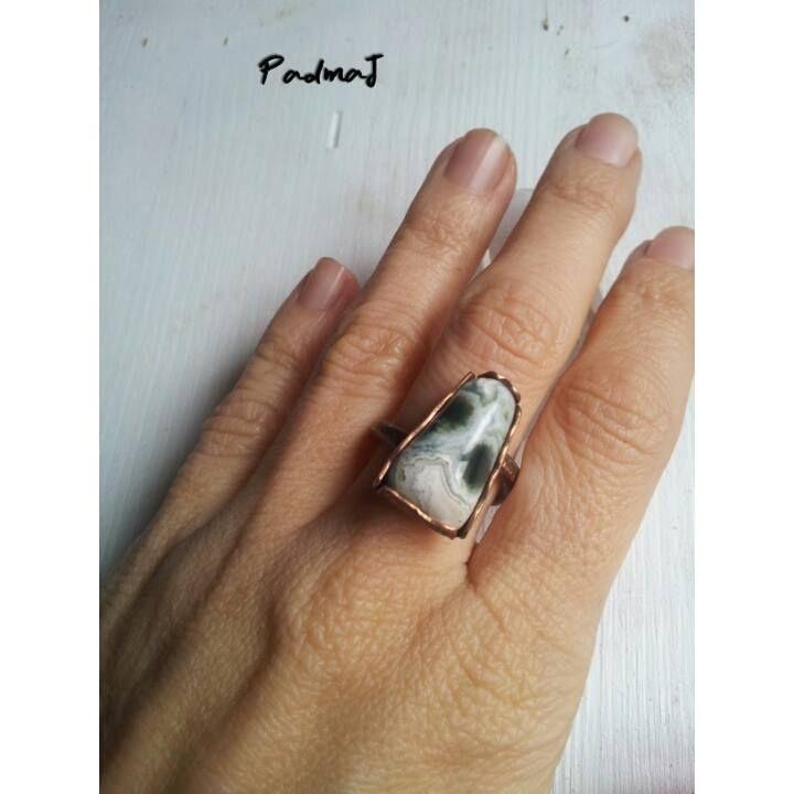 Agathe ring, copper, agata muschiata, healing stones,by PadmaJewels