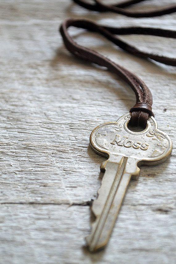 Vintage Key Necklace  Moss Key  Male Necklace  Unisex by Keytiques