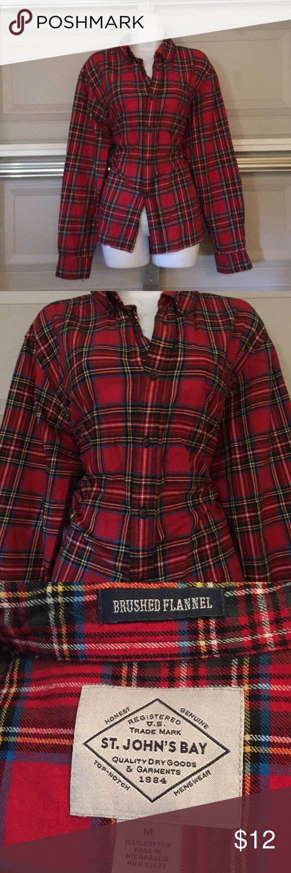 Red Ladies Flannel Shirt Very retro flannel shirt. Gently worn, no stains, rips, or tears. Long sleeve shirt, button down. Great with jeans! Tops Button Down Shirts